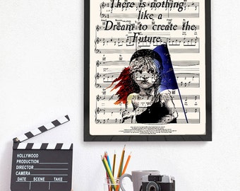 Les Misérables Quote on Music Sheet 'Bring him Home', Victor Hugo, Les Mis Print, Cosette, Book Lover Gift