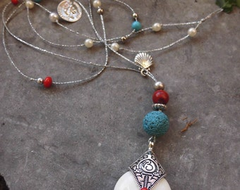 Long Necklace,Turquoise Necklace,Coral Necklace,Haolite Necklace,Summer Jewelry,Gift for her,Beach Necklace,Boho,Bohemian,Beaded Necklace