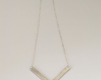 Large chevron, pendant necklace, fine silver with sterling silver chain