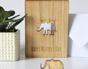 Wooden Happy Mother's Day Card, Cut Out, Oak, Gift for Mum, Mother Day Card, I love you Elephant