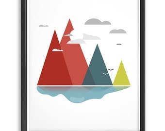 Geometric Art, Minimalist Abstract Print, Nordic Design Decor in Scandinavian Landscape, Triangle Mountains Print, Relaxing Abstract Art
