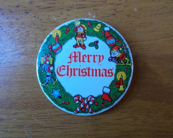 Vintage Merry Christmas Button Amscan Inc Button Pinback