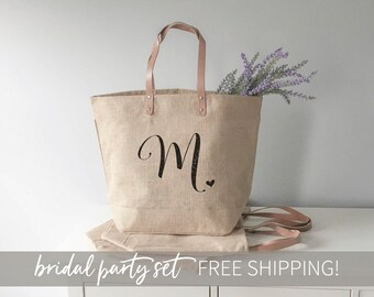 Bridesmaid Tote Bag, Bridesmaid Gift, Monogram Tote Bag, Burlap Bags, Monogram Tote, Personalized Tote Bag, Set of Totes, Bridesmaid Tote