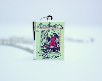 Alice in Wonderland Book Cover Locket Library Charm by Lewis Carroll Jewelry Jewellery Literary Gifts Necklace Keychain with Library Card