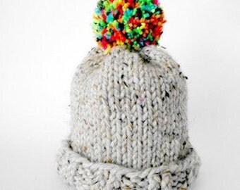 Grey Knit & Rainbow Pom-Pom Beanie/Toque/Winter Hat
