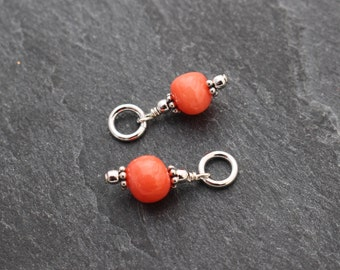 Coral Dangles, Set of 2, Charms, Earring Components, Sterling Silver