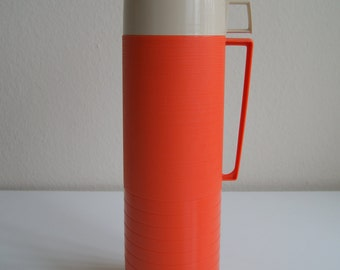 Vintage Orange Ribbed Thermos Bottle with Extra Cup #2402