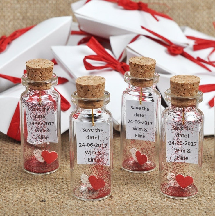 Wedding Guest Gift Baskets: Wedding Favors Message In A Bottle Red And White Wedding Gifts