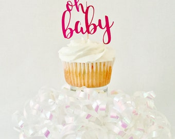 Baby Shower Cupcake Toppers - Oh Baby - Gender Reveal - Girl - Boy - New Baby - Party Decoration - Cake Topper - Pink