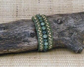 Beaded Leather Bracelet - Olive & Gold: Single Wrap Bracelet/Cuff/One Wrap//Gift for Her/3rd Anniversary/Layering Bracelet/Gemini Woman/OOAK