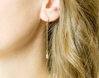 Dainty Earrings / 14k Gold Filled, Rose Gold, Sterling Silver Drop Earrings / Gold Drop Earrings / Bridesmaid Gift / Simple Gold Earrings