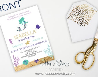 Mermaid Birthday Party Invitation, Under the Sea Birthday Party, Printable Little Mermaid Birthday