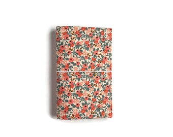 Fauxdori Cover. Fauxdori. Elastic Journal. Journal Cover. Fabric Traveler's Notebook. Rifle Paper Co. Gifts for Her Fabric Midori. QUINN