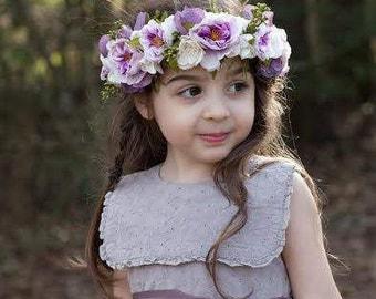 Flower Crown, Boho Wedding, Adults, Toddlers, Tieback, Bridal, Floral Crown, Hair Wreath, Halo, Wreath, Weddings, Crown, Flower Girl, Purple