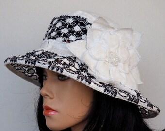 Linen summer hat with flower women sun hats women brimmed hats travel hats summer hats for women sun hat for lady fabric brim hat for women
