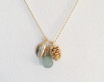 Multi Charm Necklace: Gold Leaf, Natural Aventurine Quartz Pendant, Gold Pinecone Charm Necklace, Bundle of Charms Gold Necklace