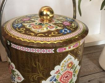 Vintage Daher Decorative tin canister with handle - England, farmhouse, retro, Victorian, storage