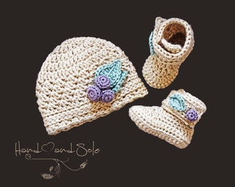 Crochet Pattern Hat and Booties, Crochet Pattern Baby Hat and Crochet Pattern Baby Booties, Crochet Patterns Baby