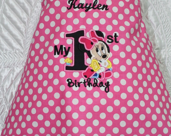 Minnie Mouse 1st birthday dress,First birthday dress,Minnie Mouse birthday, Disney birthday,Pink and white polka dot dress, Pink sundress