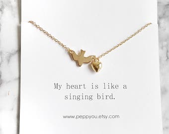 Bird Necklace, Gold Bird Necklace, Bird Jewelry, Flying Bird Necklace, Sparrow Necklace, Gold Dove Necklace, Swallow Necklace, Gold Sparrow