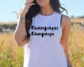 Champagne Campaign Tank Top (White)