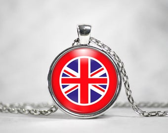 Union Jack Necklace, 25mm Round Pendant, Great Britain, World Flags, London England