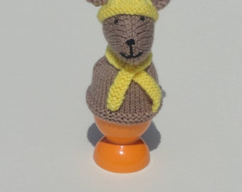 Knitted egg cosy - Brown mouse in yellow hat and scarf egg cosy - Bobble hat and scarf mouse egg cosy - Cute knitted breakfast egg cosy