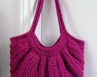 Crochet Fat Bottom Boho Bag, Crochet Handbag, Crochet Purse, Hippie Gypsy Festival Hobo Bag, Swag Bag in Berry Pink and Black bandana lining