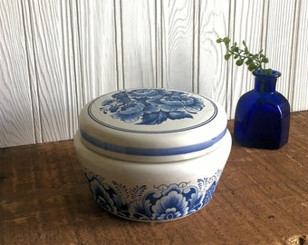 Vintage Blue and White Porcelain  - Gift for Her - Estee Lauder Youth Dew Dusting Powder Canister - Girl Gift -  Vanity Decor - Floral Glass