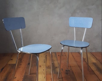 Pair of Formica Chairs, Dinning Chairs,Retro Chairs,Vintage Chairs,Chrome Chairs,Mid Century Chairs,Metal Chair,Blue Chair, Bent plywood