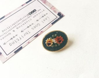Vintage Floral Brooch Vintage Floral Pin Mosaic Brooch Mosaic Pin Mosaic Jewelry 1960s Brooch Flower Brooch Glass Inlay Vintage Brooch