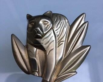 Kenzo Jungle perfume related brooch/broche TIGER/ LE TIGRE silver tone