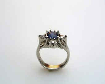 White Gold Sapphire Ring - Blue Sapphire Ring - Ceylon Sapphire Ring - Royal Ring - Sapphire and Diamond Ring