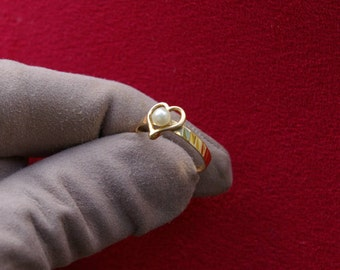 Heart Ring yellow gold and white pearl, thin ring, declaration, love, free shipping