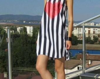 Mini Dress / Sleeveless Striped Dress / Hippie Dress / Casual Dress by FabraModaStudio / D139