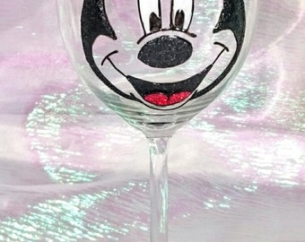 Hand Decorated Glitter Glass - Mickey Mouse