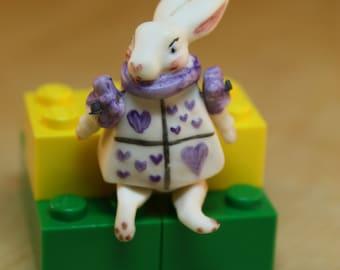 Dollhouse Miniature Hand Painted Porcelain Wonderland White Rabbit Doll (1/12, 1/24 & 1/48 Scales)