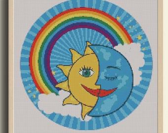 Moon Cross Stitch pattern, planet pattern, space patterns, science cross stitch, geek cross stitch, instant PDF download, DIY, stars, clouds