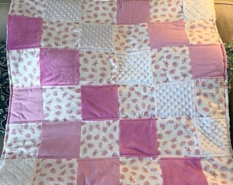 Pink & White Floral Butterfly Baby Blanket Quilt-Great for a baby shower gift!