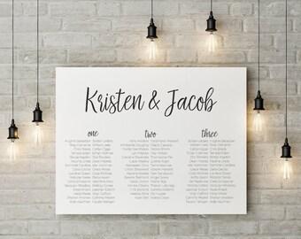 Wedding Seating Chart, Wedding Seating Plan, Seating Plan template, simple seating plan, custom seating plan