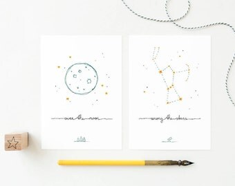 2 cards moon and stars, over the moon, orion constellation, interior cards set, baby nursery, nordic design, cute postcards pack, night sky