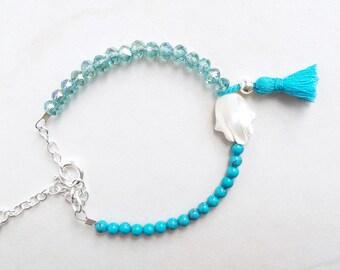 Bracelet with tassel Hamsa Fatima hand Pearl genuine turquoise blue metal crystals beads sterling silver oriental romantic Khomsa