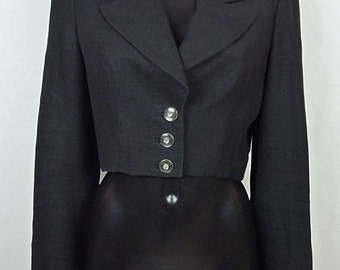Short jacket with black linen - spencer jacket - black linen - linen spencer jacket - size 38 M - VINTAGE