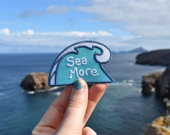Sea More Patch - Iron-on Surfer Badge - Ocean backpack patches