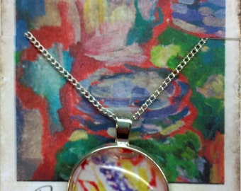 Round art pendant necklace - original art print under glass