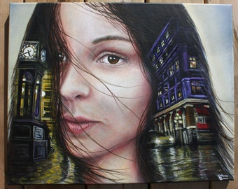 Realistic Acrylic Painting Girl Portrait on Canvas Original Downtown Vancouver Cityscape Night Scene Yellow Lights Vintage Style Steamclock