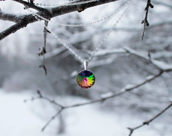 """Swarovski """"Vitrail Medium"""" (Green, Red, Yellow, Blue, Purple) Pendant and Sterling Silver Cable Chain; Circle;"""