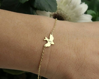 Custom Bird Bracelet-Soar Bird Bracelet-Dove Bracelet-Gold Dove Bracelet-Personalized Bracelet-Bridesmaid Gift-Personalized Gift