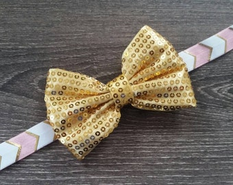 Gold Sparkly Sequin Bow on Pink & Gold Arrow Elastic Headband, Gold Sequin Bow, Pink and Gold Headband, Pink and Gold Birthday, 1st Birthday