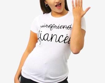 Girlfriend Fiancée T Shirt Engagement Wedding Proposal Gift Present Bride STP273